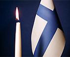 Finlands flagga och ljus