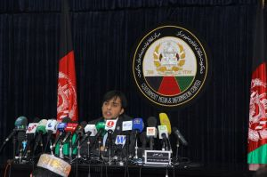 Zulmay Afzali during a press conference in Kabul