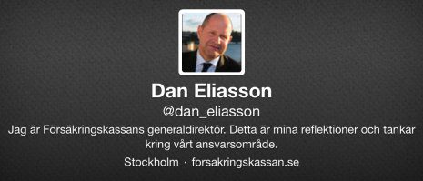 Dan Eliassons Twitterprofil