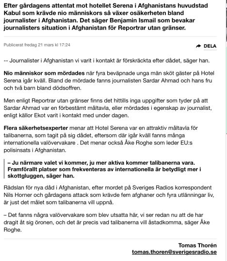 Afghanska journalister förskräckta efter dådet