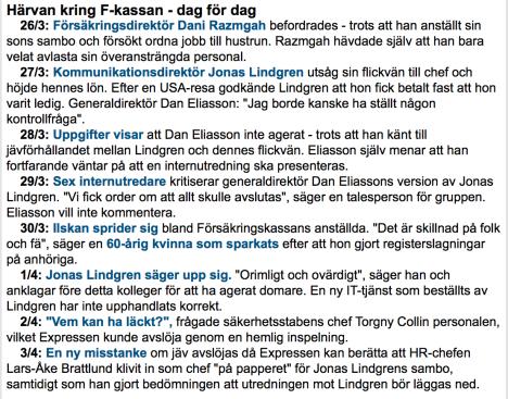 Expressen om FK-härvan 26.3-3.4 2014