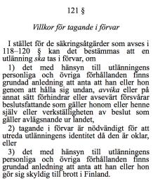 Villkor för tagande i förvar i Finland