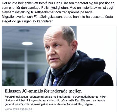 Dan Eliasson JO-anmäls för raderade mejl