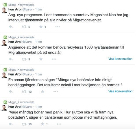 Ivar Arpi på Twitter om nya prognosen