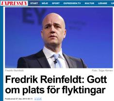 Reinfeldt Gott om plats för flyktingar