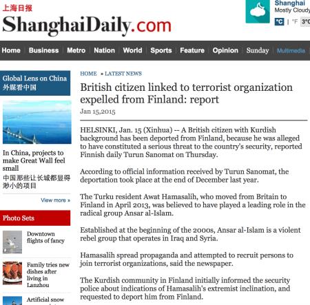 ShanghaiDaily 15 jan 2015