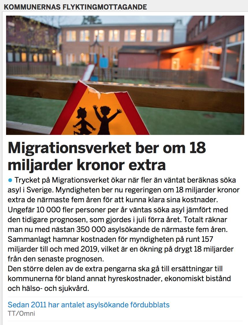 Migrationsverket kraver en extra miljard i ar