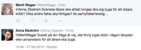 Ska svenska lärare ljuga? Tweets