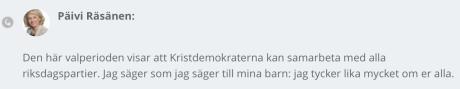 Päivi Räsänen om vad hon tycker om andra partier