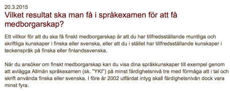 Språkkunskaper för finskt medborgarskap