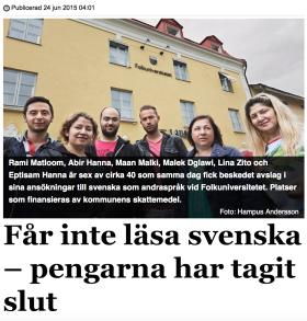 Får inte läsa svenska LT Södertälje 24.6 2015