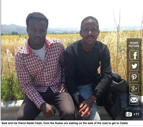 Sudaneser i Italien på väg till UK