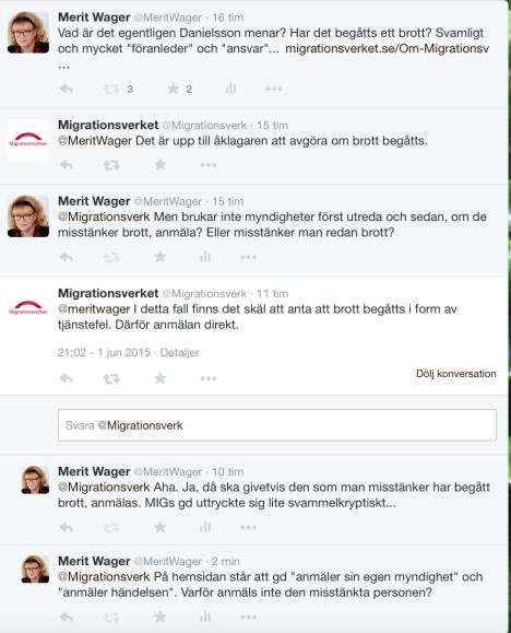 Twitterkonv om MIGs gds anmälan