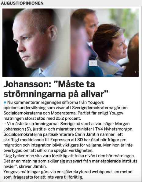 S om YouGovs mätning där SD är stlrsta parti 2015-08-20