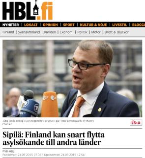 Sipilä Finland kan snart flytta asylsökande