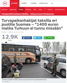 Turvapaikanhakijat taksilla Turkuun