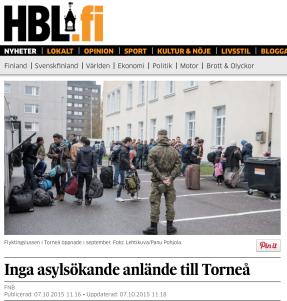 Hbl Inga asylsökande till Torneå 7.10 2015