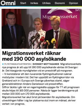 MIG räknar med 190.000 asylsök 22.10 2015 Omni