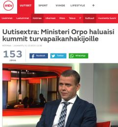 Ministeri Orpo haluaisi kummit MTV 31.10 2015