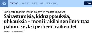 Sairastumisia kidnappauksia 15.10 2015 HS