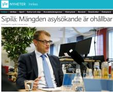 Sipilä Mängden av asylsökande Sv Yle 18.10 2015