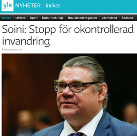 Soini Stopp för okontrollerad invandring Yle 10.10 2015
