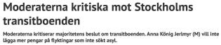 M kritiska mot Stockholms transitboenden Stockhiolm Direkt 13.11 2015
