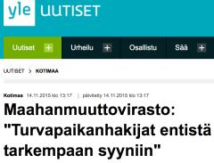 Maahanmuuttovirasto Turvapaikanhakijat entistä tarkempaan syyniin 14.11 2015 Yle