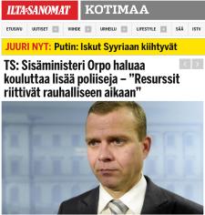 Orop haluaa lisää poliiseja 17.11 2015 Ilta-Sanomat