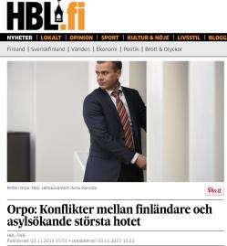 Orpo Konflikter mellan finländare o asylsökande Hbl 3.11 2015