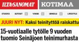 15-vuotiaalle tytölle 9 vuoden tuomio Ilta-sanomat 11.12 2015