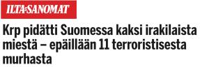 Krp pidätti kaksi irakilaista Ilta-Sanomat 10.12 2015