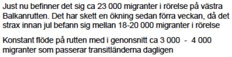 MIGs veckorapport 151230 Balkanrutten
