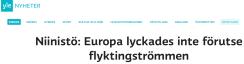 Niinistö Europa lyckades inte förutse flyktingströmmen Yle 5.12 2015