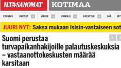 Suomi perustaa palautuskeskuksia Ilta-Sanomat 3.12 2015