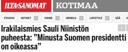 Irakilaismies Sauli Niinistön puheesta Ilta-Sanomat 4.2 2016