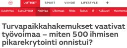 Turvapaikkahakemukset vaativat MTV Uutiset 20.2 2016