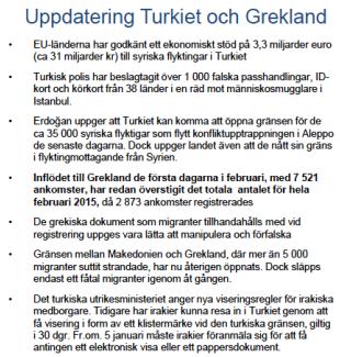 Uppdatering Turkiet och Grekland v 6 2016