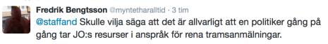 Fredrik Bengtssons tweet 16.3 2016
