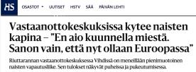 Vastaanottokeskuksissa kytee naisten HS 13.3 2016