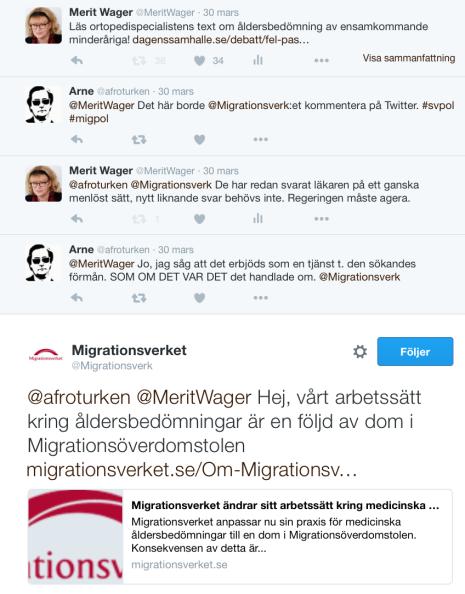 På Twitter om MIG o åldersbedömningar