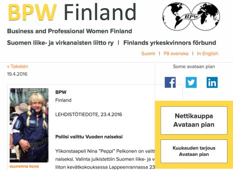 Poliisi valittu Vuoden naiseksi 23.4 2016
