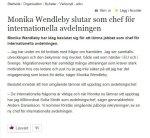 Monika Wendleby slutar påMIG