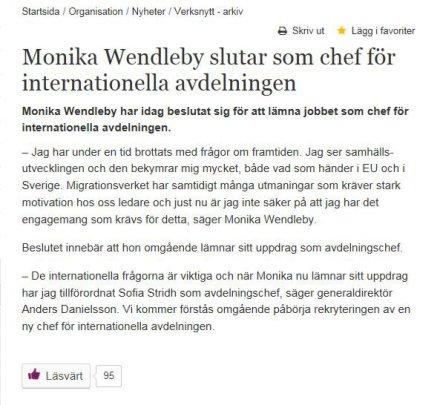 Monika Wendleby slutar på MIG