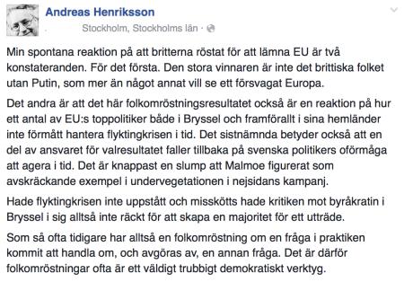 Andreas Henriksson om Brexit