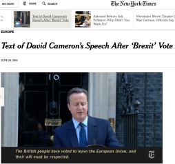 David Cameron speech NYT 24.6 2016