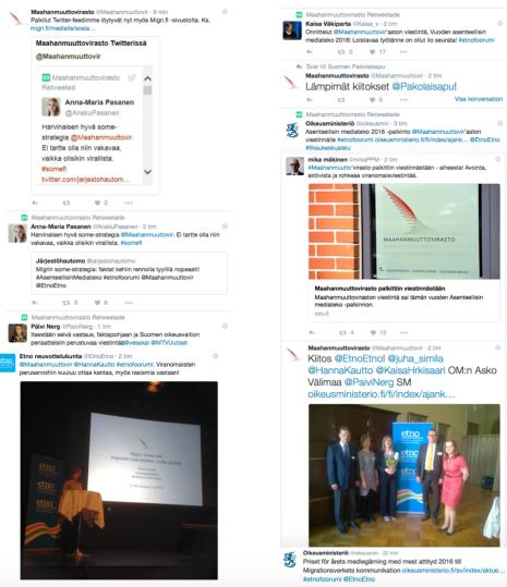 Migri palkinto Twitter 2.6 2016