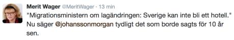 Tweet om att Sverige inte jan bli ett hotell 1.6 2016