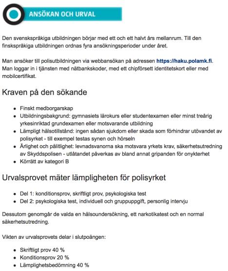 Ansökan o urval till polisutbildn i Finland