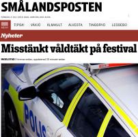 Misstänkt våldtäkt på festival Smålnadsposten 3.7 2016